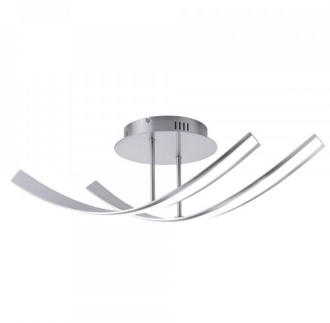 Curved Steel Ceiling Lamp In Stainless Steel Finish - ID 6768
