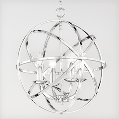 Polished Chrome 4 Arm Chandelier Style Single Pendant - ID 5874