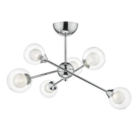 Polished Chrome and Glass Semi-Flush Light - ID 6866