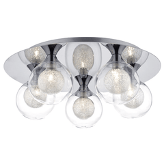Blackheath Polished Chrome and Glass Flush Ceiling Light - ID 7186