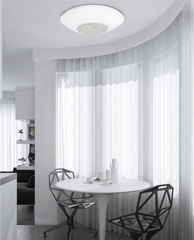 Small White Glass & Crystal Ceiling Light - ID 7375