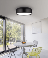 Steel & Acrylic Matt Black Flush Ceiling Light - ID 7381