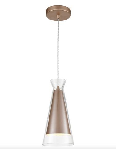 Copper and Clear Glass Single Pendant - ID 6825