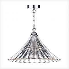 Loxwood Large Polished Chrome and Glass Single Pendant - ID 1895