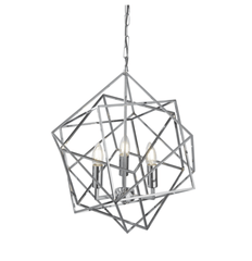 Medium Geometric Cube Chrome Pendant - ID 6777