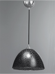 Medium Crackled Black Glass Single Pendant - ID 4950