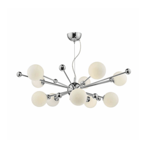 Greenwich 10 Light Polished Chrome & Opal Glass Pendant - ID 6808