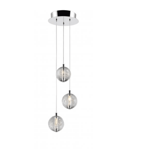 Bubbled Glass 3 Lamp Stairwell Pendant - ID 7807