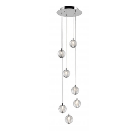 Bubbled Glass 7 Lamp LED Stairwell Pendant - ID 6969