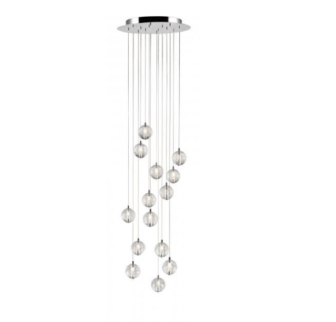 Bubbled Glass 14 Lamp LED Stairwell Pendant - ID 7811