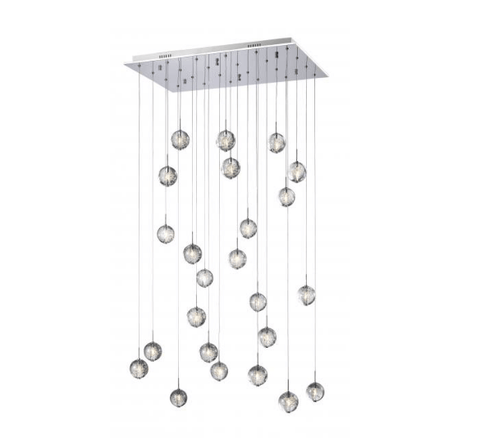 Bubbled Glass 24 Lamp LED Stairwell Pendant - ID 7814