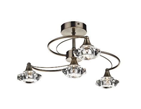 Earlsfield Antique Brass 4 Lamp Ceiling Light - ID 7908