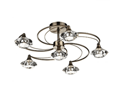Earlsfield Antique Brass 6 Lamp Ceiling Light - ID 7907