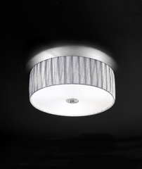 3 Light Flush Ceiling Light With Fabric Shade - ID 5444