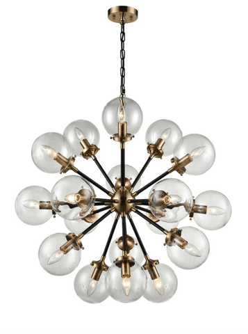 18 Light Glass Sphere Chandelier In Matt Black & Antique Gold Finish - ID 6841