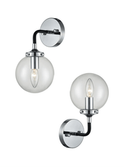 Single Glass Sphere Wall Light In Matt Black & Chrome - ID 6845