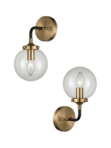 Single Glass Sphere Wall Light In Matt Black & Antique Gold - ID 6842