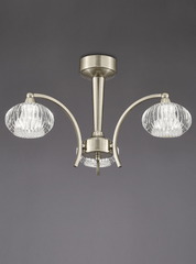 Ceiling 3 Light in Satin Nickel With Ribbed Glass Shades - ID 6348