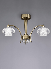 Ceiling 3 Light in Antique Brass With Ribbed Glass Shades - ID 5707