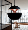35cm Aluminium Globe Pendant In Black & Copper - ID 7993