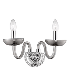 Chingford 2 Lamp Smoked Glass & Chrome Wall Light - ID 8010