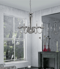 Chingford 5 Lamp Smoked Glass & Chrome Chandelier - ID 8012