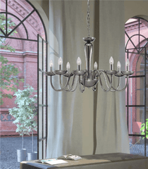 Chingford 8 Lamp Smoked Glass & Chrome Chandelier - ID 8013