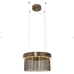 50cm Circular Chandelier In Brushed Bronze With Satin Crystal Glass - ID 8016