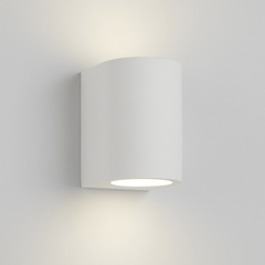 Brockley Curved Cylinder White Plaster Paintable Wall Light - ID 4987
