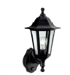 Crofton Black Outdoor Uplighter Wall Lantern with PIR - ID 8333
