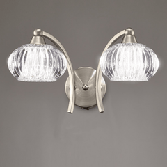 Farr 2 Light Wall Bracket In Satin Nickel With Ribbed Glass Shade - ID 6353