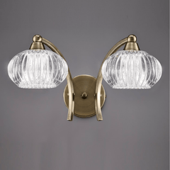 Farr 2 Light Wall Bracket In Antique Brass With Ribbed Glass Shade - ID 6352