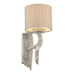 Ivory Single Wall Light With Taupe Silk Shade - ID 7733