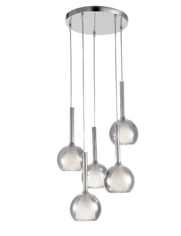 Cowley Smoked Glass With Opal Inner 5 Lamp Multi Pendant - ID 8665