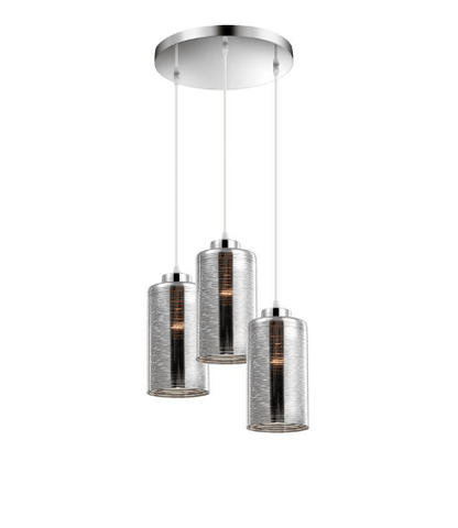 Beckenham Smoked Glass With Chrome & Aluminium 3 Lamp Multi Pendant - ID 8668