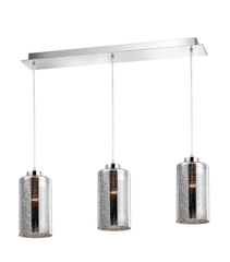 Beckenham Smoked Glass With Chrome & Aluminium 3 Linear Bar Pendant - ID 8669