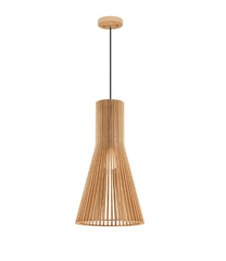 Norbury Natural Wood Medium Semi-Conical Pendant With Black Fabric Wire & Wood Ceiling Rose - ID 8674