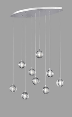 Bubbled Glass 9 Lamp LED Oval Bar Pendant - ID 8690