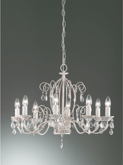 Coulsdon 8 Arm Iron Ceiling Light In white With Gold Highlights - ID 8704