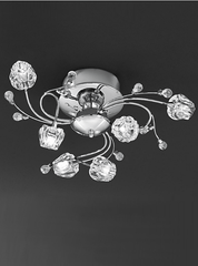 6 Light Semi Flush Ceiling Light With Glass Detail - ID 1187