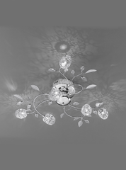 6 Light Semi Flush Ceiling Light With Crystal & Chrome Leaf Detail - ID 2981