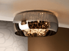 Smoked Glass & Chrome Large 6 Light Flush Ceiling light With Crystal Drops - ID 8739