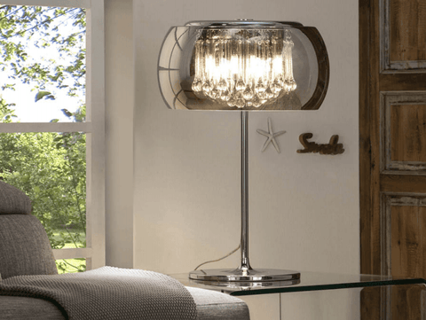 Smoked Glass & Chrome 4 Light Large Table Lamp With Crystal Drops - ID 8742