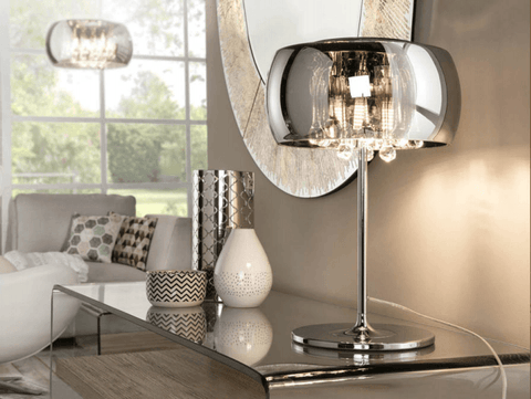 Smoked Glass & Chrome 3 Light Medium Table Lamp With Crystal Drops - ID 8743