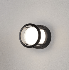 NL Outdoor IP54 Round Black & Opal Bulkhead Wall Light - ID 9079