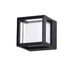 NL Outdoor IP54 Square Black & Opal Bulkhead Wall Light - ID 9080