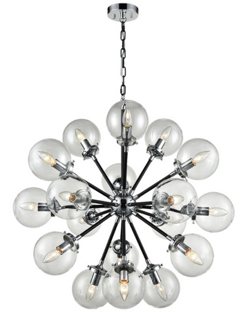 Reay 18 Light Glass Sphere Chandelier In Matt Black & Chrome Finish - ID 6844