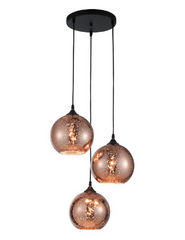 NL Copper Glass Globe & Black Pendant ID 9258