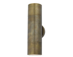 Tyndrum Brushed Antique Brass Finish Solid Aluminium Up/Down Outdoor Wall Light - ID 9488