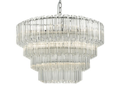 9 Light Fluted Glass & Polished Chrome Art Deco Pendant - ID 9478